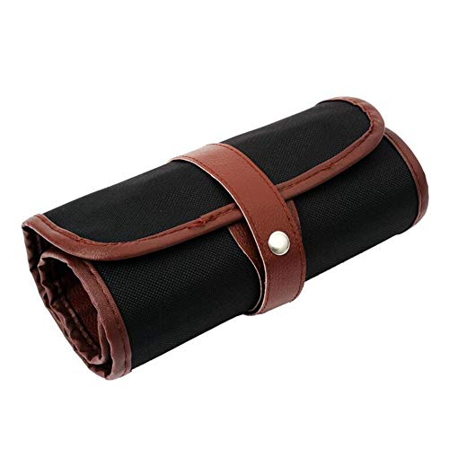 1 Piece 60 Slot Canvas Pencil Roll Up Case Pencil Wrap Case Roll up Pouch Pen Wrap Organizer Roll Up Pencil Holder Charcoal Pencils Rolling Pouch for Painter Artist Black