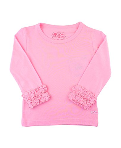 RuffleButts Little Girls Ruffled Long Sleeve Undershirt Tee - Pink - 5