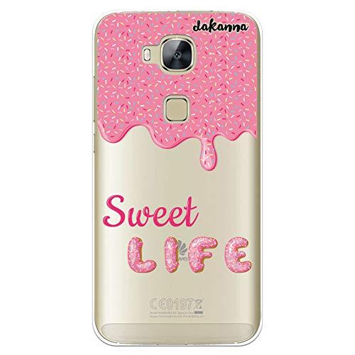 dakanna Funda Compatible con [Huawei G8 - GX8] de Silicona Flexible, Dibujo Diseño [Donut glaseado Rosa con Frase Sweet Life], Color [Fondo Transparente] Carcasa Case Cover de Gel TPU para Smartphone