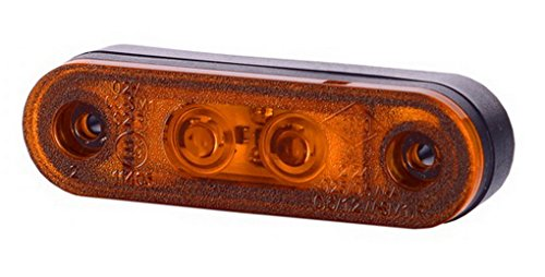 1 x 2 SMD LED Orange Begrenzungsleuchte mit Gummi-Pad 12V 24V mit E-Prüfzeichen Seitenleuchte Umrissleuchte Anhänger Wohnwagen Auto LKW PKW Licht