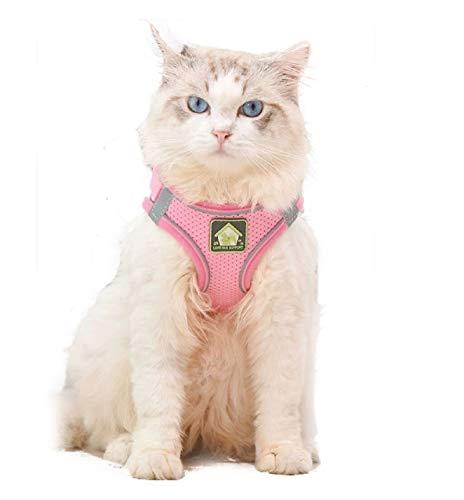 Coriver Conjunto de arnés y Correa para Gato, Chaleco para Perros Chaqueta con Correas para el Pecho Reflectante para Gatos, Resistente al Escape sin estrangulamiento para Mascotas(M,Pink)