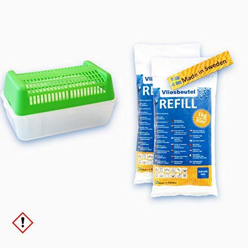 Luftentfeuchter Box rechteckig, grün - für Vliesbeutel - 1 Box + 2kg Luftentfeuchter Granulat Nachfüllpack