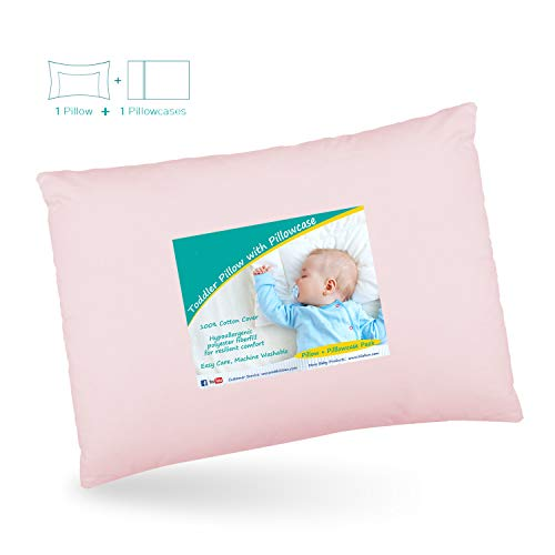 Baby Toddler Pillow for Sleeping, Cot Pillow with Pillowcase for Girls, 46...