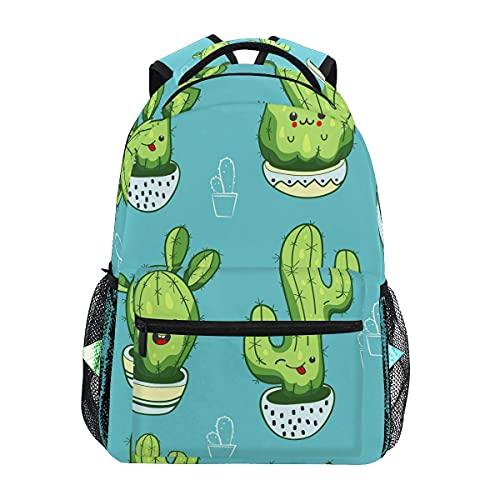Mochila escolar escolar escolar mochila de viaje al aire libre lindo kawaii cactus suculentas azul