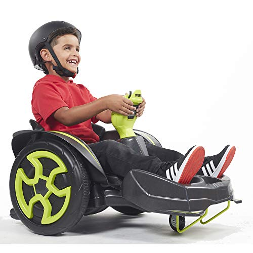 ECR4Kids Spin n' Go Racer, Ride-On 12V Mechanical Go Kart for Boys and Girls, 360 Degree Spins, Race Car Drifting, Indoors and Outdoors, Black and Lime Green