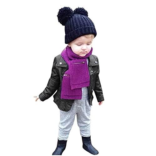 TinaDeer Mädchen Jungen Lederjacke Frühling Herbst Winter Mantel Baby Kinder Pu Ledermantel Warme Outwear Nähte Revers Coat Jacken Kleidung für 1-5 Jahre (Schwarz, 2-3 Jahre)