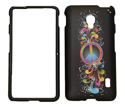 Rainbow Wave Peace Sign on Black Rubberized Protective Cover Case for LG Optimus F6 D500 / MS500