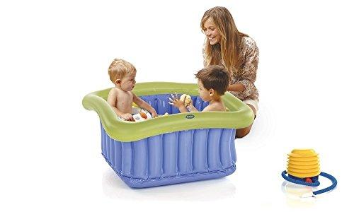Jane vaschetta gonfiabile per piatto doccia, riduttore per vasca, tappo laterale, pompa a pedale, senza ftalati