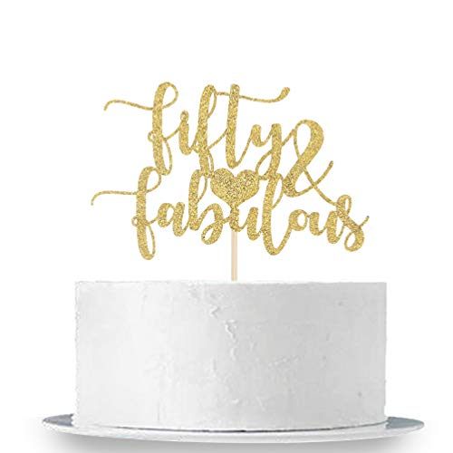 INNORU Gold Glitter Fifty and Fabulous Cake Topper - Fifty Sign - Happy 50th Birthday 50th Anniverdary Party Decorations