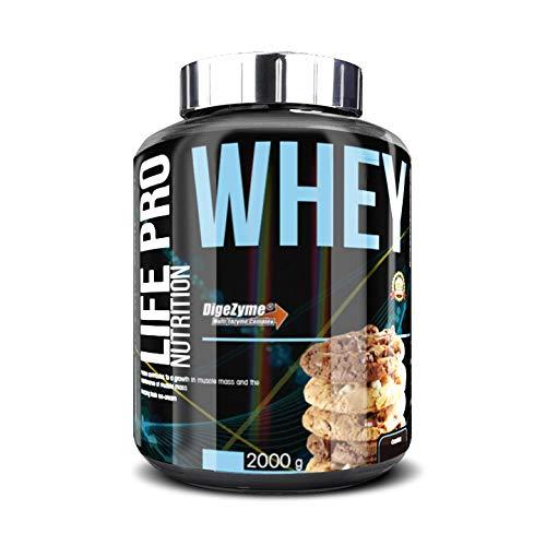 Life Pro Whey 2Kg | Suplemento Deportivo, 78% Proteína de Concentrado de Suero, Protege Tejidos, Anticatabolismo, Crecimiento Muscular y Facilita Períodos de Recuperación, Sabor Cookies