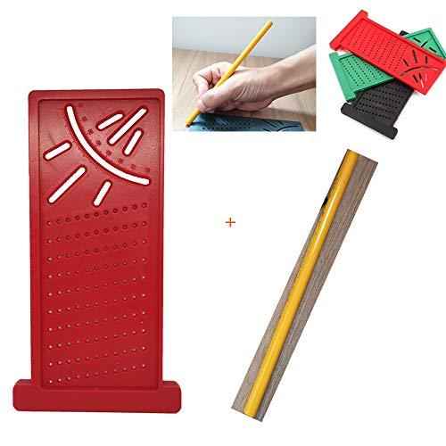(Bleistift verschenken) Carpenter Ruler 3D-Lochlineal Gehrungswinkel-Messgerät für Carpenter Marking Hardware Scribe Measuring Tool (Rot)