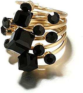 Gold color with black Rhinestone vintage ring