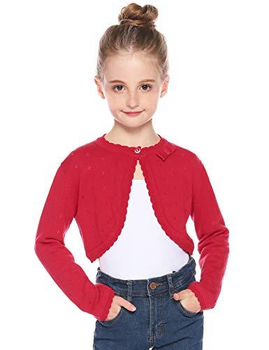 Hawiton Mädchen Strickjacke Basic Bolero Kinder Lange Jacke Strickjacke Blume Achselzucken Partykleid vertuschen Pullover für Mädchen