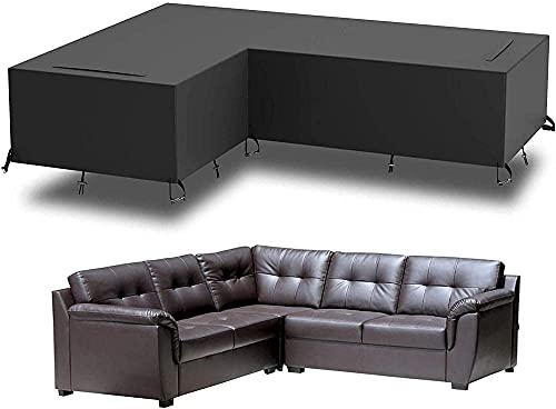 Funda para sofá de patio, seccional para exteriores, en forma de L, para muebles, impermeable, resistente, para jardín, funda protectora para lluvia, nieve, UV, 210D, funda para sofá, 210D, funda p