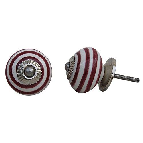8 pieza de cerámica artesanal Indianshelf Cereza rayas pequeñas Cajonera Aparador pomos puertas armario tira Vitrina de nuevo en línea