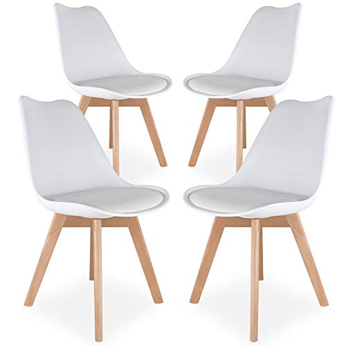 HOSTIC Dining Chairs Modern Mid Century Style Tulip Chair with Cushion Solid Wooden Legs Set of 4 White