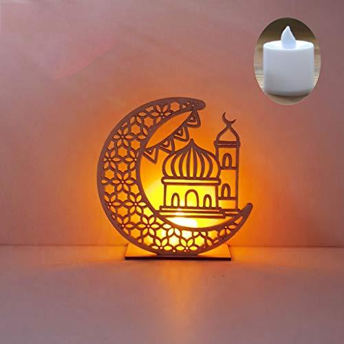 Ramadn Eid Mubarak Moon Star Islam colgante placa colgante con vela LED Pascua Eid decoracin