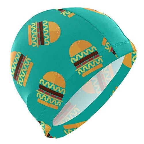 FOLPPLY Swim Caps Hamburger Food Pattern Swimming Cap Hat Waterproof Bathing Shower Hair Cover for Adult Men Women Youth Girls Boys