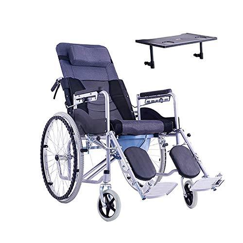 Living Decoration Silla de ruedas Silla de ruedas Silla de ruedas de acero Plegable Durable se puede utilizar para personas mayores con discapacidad Mesa de comedor pequeña (Tamaño: Cuero de PU)