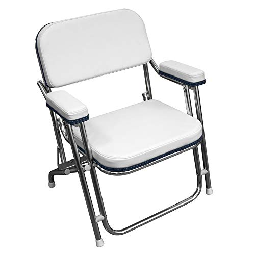 Wise 3319-924 Folding Deck Chair, White with Navy Trim, Standard