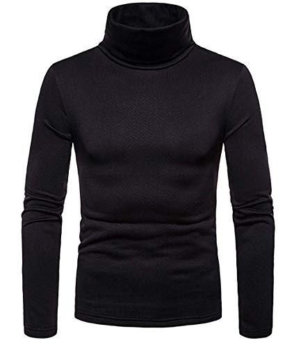 Men's Slim Fit Turtleneck Thermal Shirt Long Sleeves Solid Color Winter Pullover T-Shirt High Collar Thick Top (Black, M)