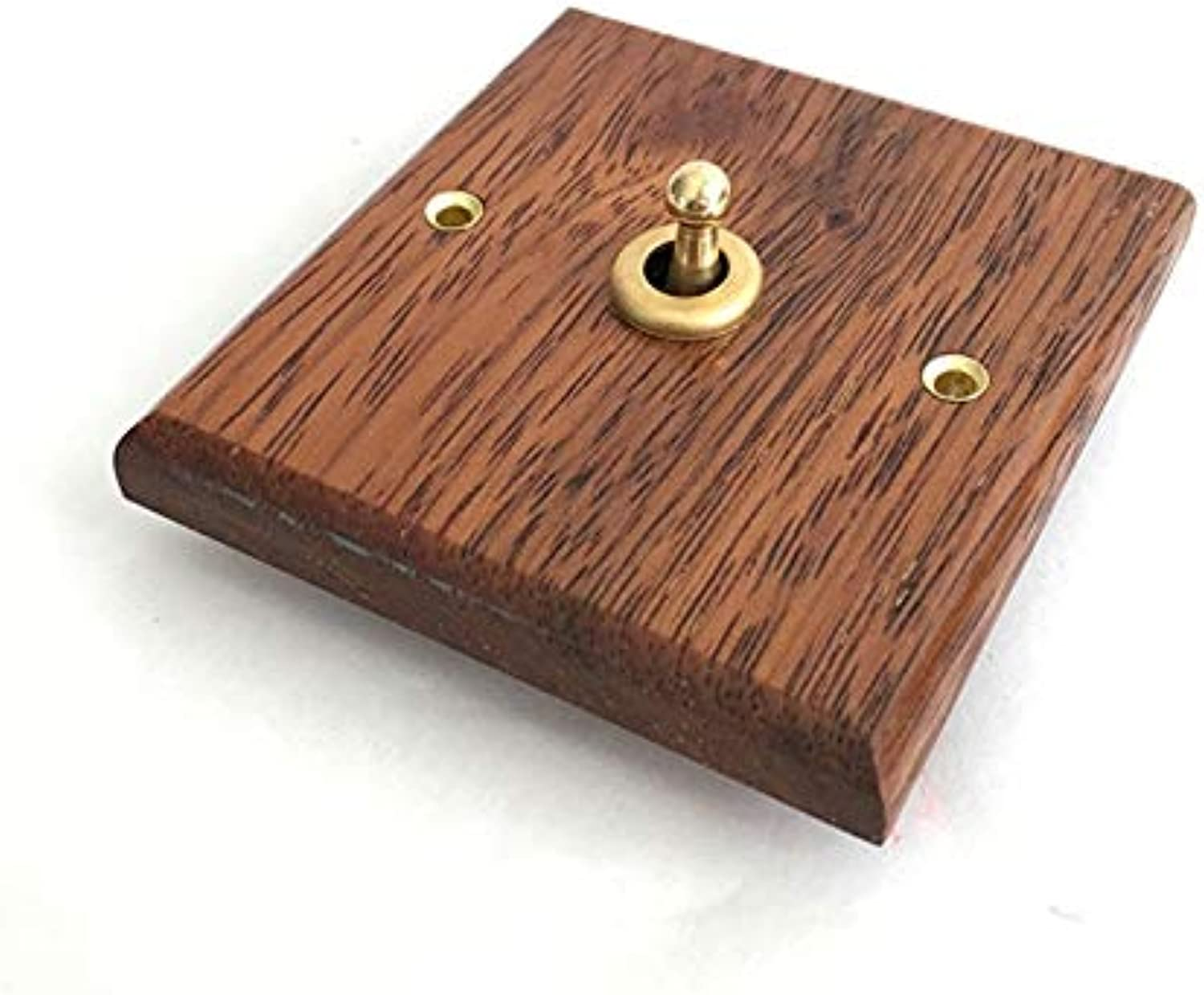 Premium Antique Wall Light Switches   86x86mm Solid Wood Facades  (Number of Gangs  1Gang)