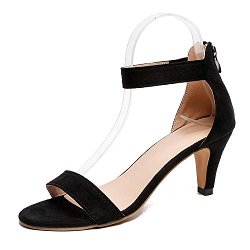 Sandalias Mujer de Tacón Medio Verano Zapatos con Correa en El Tobillo Hebilla Zapatillas de VestirNegro Rojo Caqui Leopardo 35-43 Negro 38
