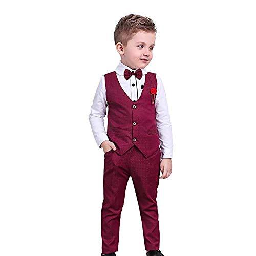 Nwada Conjunto Niño Disfraz Bebé para Boda Traje de Bautizo Chaqueta + Chaleco + pantalón + Corbata de Lazo