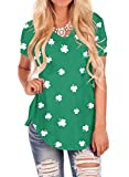 Women T Shirts Irish ST Patricks Day Cotton Short Sleeve Green Clover Tops V Neck M