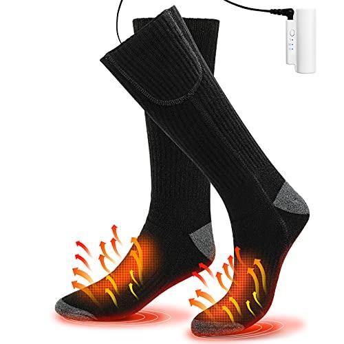 Calcetines Calefactables para Hombres y Mujeres, 3 Niveles Ajuste Temperatura Calentadores de Pies Electrónica Recargable Calcetines de Algodón Cálido Invierno Esquiar Motocicleta Ciclismo Calcetines