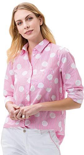 BRAX Damen Style Victoria Cotton Stripes Gepunktete Brusttasche Bluse, PINK, X-Large (Herstellergröße: 42)