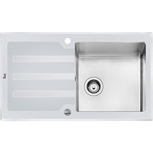 Teka Lux 1B 1D Edelstahl Stil passt perfekt mit Glasspüle Spülbecken Spüle Weiß