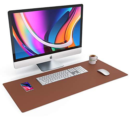 CSL Tischunterlage Schreibtischunterlage 90 x 40cm - Premium PU-Leder Schreibunterlage - zusätzliche Anti Rutsch Beschichtung - wasserdicht - XXL Mauspad - für Büro u Home Office 900x400 mm Braun
