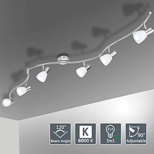 Bojim Deckenstrahler 6 flammig LED 6000K 6 Watt kaltweiß Deckenleuchte drehbar schwenkbar Inkl. 6x Leuchtmittel jede 470 Lumen E14 Fassung Deckenlampe Wohnzimmer Küche modern Spotleuchte IP20