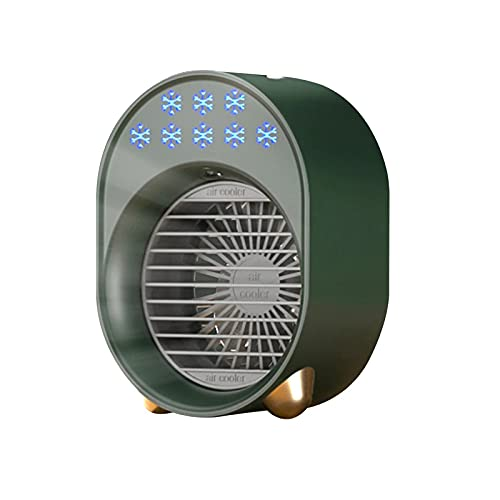 JIASHIQI Mini condizionatore d'Aria, condizionatore d'Aria Portatile Raffreddatore d'Aria USB Raffreddamento a spruzzo umidificante Ventola di Raffreddamento da Tavolo con 6 Colori LED per Camera