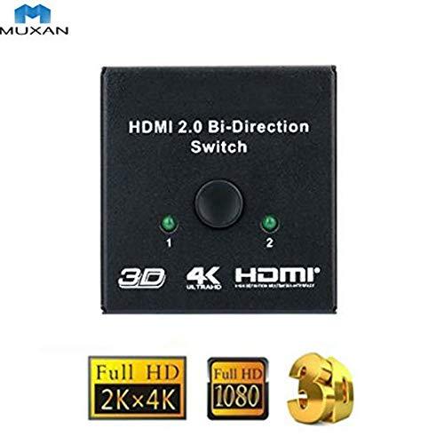 MUXAN HDMI-switch, bidirectionele HDMI-switch 1 ingang aan 2 uitgangen of 2 ingangen aan 1 HDMI-splitter-uitgang ondersteunt 3D HD 1080P 4Kx2K bij 60 Hz voor HDTV/Blu-Ray/DVD/DVR-speler etc.