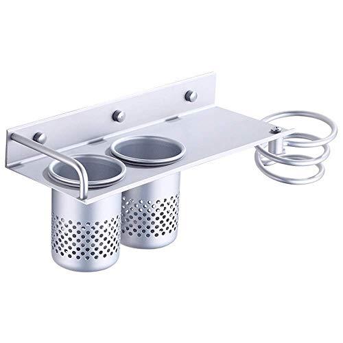 Badkamerrekplank, badkamerplank Wandmontage Ruimte Aluminium föhnhouder met 2 kopjes Lade Paneelopslag, anticorrosief föhn opbergrek, multifunctioneel, 30x12cm