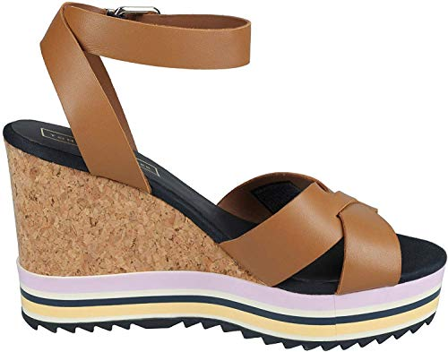 Tommy Hilfiger FW0FW04054929 Colored Stripes Wedge Damen Keilsandalette Leder, Groesse 37, cognac