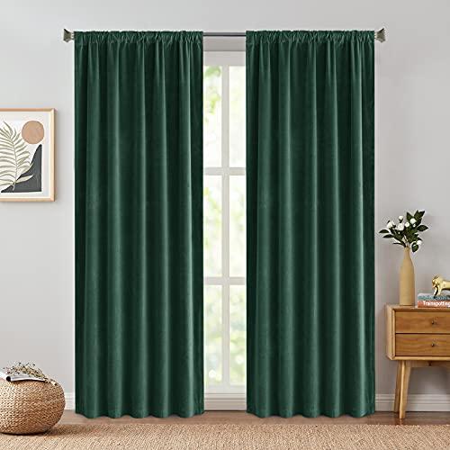 Green Velvet Curtains Drapes Bedroom Window Curtains 84 Inch Long Living Room Rod Pocket Window Treatment Set 2 Panels
