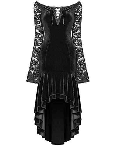 Punk Rave Gótico Vestido de Noche Terciopelo Negro Manga de Encaje Cola de Pez Victoriano Bruja - Negro, XS/S - UK Womens Size 6-8