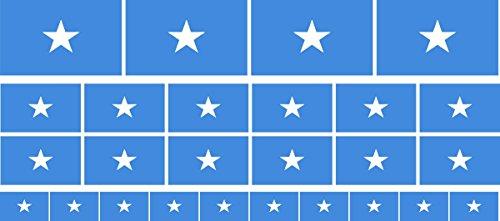 Mini Aufkleber Set - Pack glatt - 4x 51x31mm+ 12x 33x20mm + 10x 20x12mm- Sticker - Somalia - Flagge - Banner - Standarte fürs Auto, Büro, zu Hause & die Schule - Set of 26