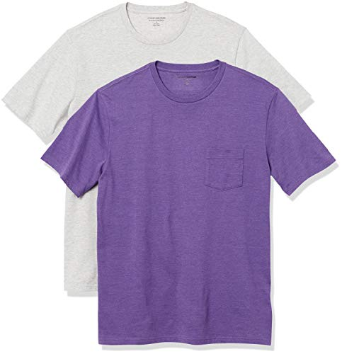 Amazon Essentials Herren 2-Pack Slim-Fit Crew Pocket fashion-T-shirts, Purple Heather/Light Heather Grey, M