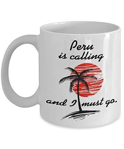 Peru is Calling Taza de café Perú Souvenirs Perú Vacation I Love Perú Taza de té regalo taza de café taza divertida regalo para el día del padre polilla