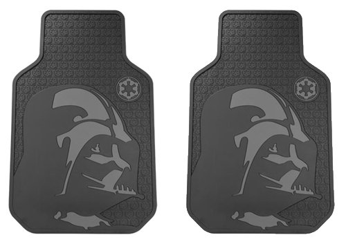 Star Wars Darth Vader with Galactic Empire Logo Car Truck SUV Front Seat Rubber Floor Mats - Pair