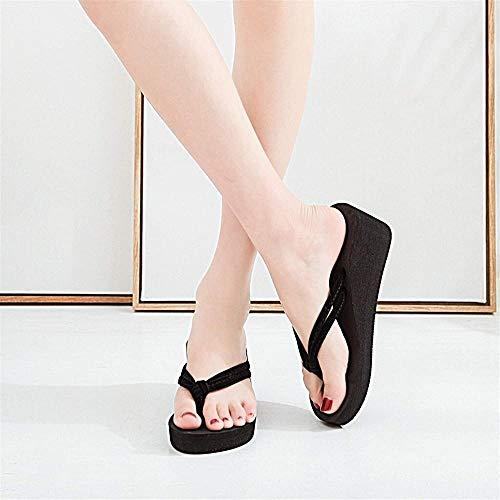 ZSW Shoes Chanclas de Mujer Zapatillas de Verano sólidas Zapatillas de cuña de Playa Zapatillas de Plataforma Informales Chanclas de Mujer (Color: Negro Talla de Zapato: 43)-43_Negro
