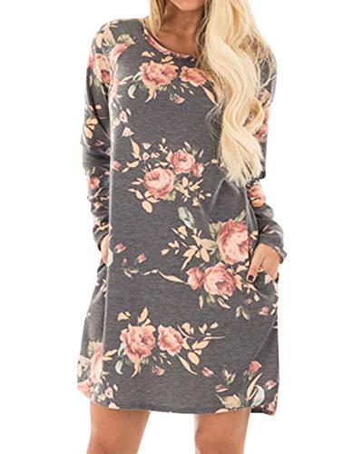 BOLAWOO-77 Autunno Inverno Nuovi Ladies Dress Girocollo Elegante Fiori Abiti Mode di Marca Baggy Blouse Abiti con Tasche A Patch Manica Lunga Mini Dress Party Dress (Color : Grau, Size : L)