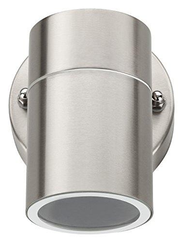 Grundig Außen Wandleuchte | im hochwertigen runden Edelstahl-Gehäuse | Fassadenleuchte Spritzwassergeschützt IP44 | GU10-Fassung max. 35 Watt | 8,5 x 11,6 x 9,3 cm (BxHxT) | inkl. Befestigung