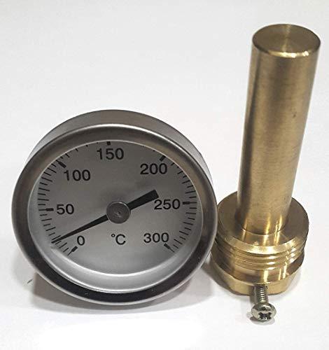 Termómetro para Puerta de hornos de leña, Escala de 0 a 300ºC con Vaina de 5 cm.