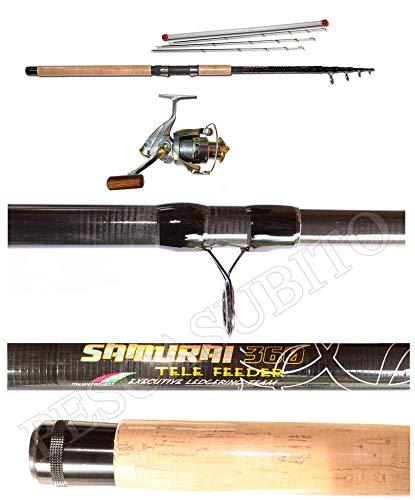 Pescasubito.com Kit Canna Ledgering Carbonio Telescopica Samurai Feeder 3.30Mt + Mulinello XC