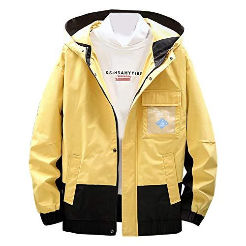 MAYOGO Herren Sweatjacke Lässige Camouflage Kapuzenjacke Regenjacke Streetwear College Jacke Übergangsjacke Dünn Full Zip Herrenjacke Jacken Cardigan Sweatjacke Mantel (Gelb, XXL)